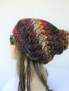 Womens Pom Pom Hat - Slouchy Hat Winter Hat Women hat Crochet hat Colorfull Slouchy Beanie Gift for her Fall Winter Fashion Accessories