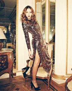 Time to shine ... sequin maxi dress, £99, Miss Selfridge; heels, £59.99, New Look