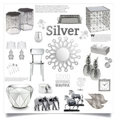 """Shining Silver"" by southindianmakeup1990 ❤ liked on Polyvore featuring interior, interiors, interior design, home, home decor, interior decorating, Amara, blomus, Wiedemann Candles and Abbyson Living"
