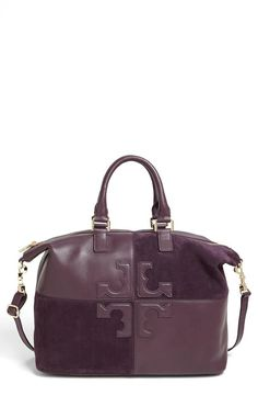 Beautiful Tory Burch suede plum satchel - want this for fall!