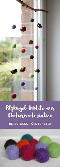 This Felt Ball Mobile with Natural Materials is a creative autumn window deco . fenster natur This Felt Ball Mobile with Natural Materials is a creative autumn window deco . Fall Crafts For Kids, Diy For Kids, Fun Crafts, Diy And Crafts, Autumn Decorating, Fall Decor, Diy Niños Manualidades, Diy Cans, Fete Halloween