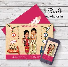 "Yet another Tambrahm themed caricature invitation customized to bride's liking. She said, ""Kards team was patient in executing what I had in mind! Really loved your work!"" Happy brides keep us going :) :) Indian Wedding Invitation Cards, Indian Wedding Favors, Honey Wedding Favors, Vintage Wedding Favors, Inexpensive Wedding Favors, Creative Wedding Invitations, Wedding Favors For Guests, Personalized Wedding Favors, Wedding Invitation Design"