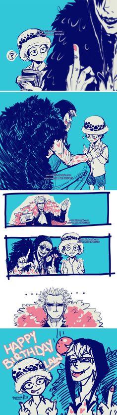 One Piece, hahahahahaha! I need more Cora-san and Law mocking/teasing Pinky!