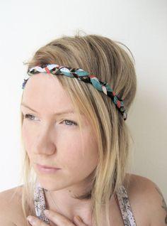 The Braided Headband- In Vintage geometric print, bohemian style by WhiteRabbit7  $16.00