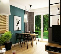mieszkanie 60m2 turkusowy mocny akcent - Średni salon z kuchnią z jadalnią, styl… Guest Room, Art Pieces, House Design, Windows, Table, Furniture, Home Decor, Living Rooms, Bb