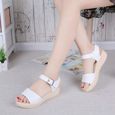 e304b0394de17 Women sandals summer shoes flat casual sandals for women platform Solid  sandal