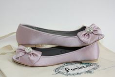 Flat Wedding Shoes  Lavender Bow Flats With Crystal  by Parisxox