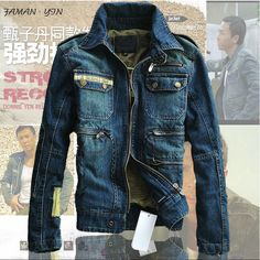 High Quality New 2014 Spring Denim Jacket Men Stars Model Military Brand Casual Jean Jackets For Men Coat Man Outdoors Blue 3XL