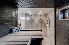 lasiseinä sauna - Google-haku Laundry In Bathroom, Bathroom Inspo, Bathroom Ideas, Basement Gym, Small Toilet, Spa Rooms, Home Spa, Saunas, Home And Living