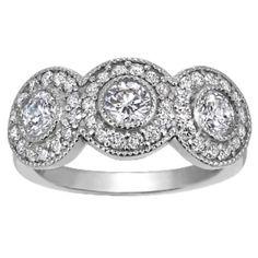 Three Stone Bezel Halo Ring from Brilliant Earth