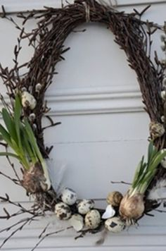 Spring Wreath - simple grapevine wreath, decorated with pussy willow, speckled eggs & bulbs. How pretty! Spring Wreath - simple grapevine wreath, decorated with pussy willow, speckled eggs & bulbs. How pretty! Deco Floral, Arte Floral, Speckled Eggs, Easter Wreaths, Spring Crafts, Easter Crafts, Easter Food, Easter Ideas, Grapevine Wreath