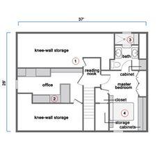 Final attic floor plan after remodel
