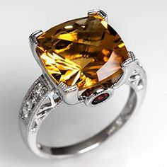 Citrine Cocktail Ring w/ Garnet & Diamond Accents in 14K White Gold  feeling all old school bling bling