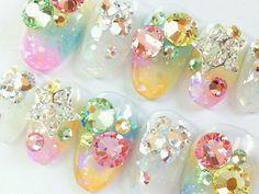 Japanese nail art 3D Bling statr colorful glittery 2. $20.00, via Etsy. Glam Nails, Bling Nails, 3d Nails, Love Nails, Beauty Nails, Bling Bling, Swarovski Nails, Crystal Nails, 3d Nail Art