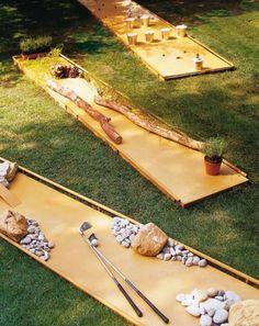 Outdoor Game Ideas to DIY This Summer DIY a mini golf course in your backyard.DIY a mini golf course in your backyard.