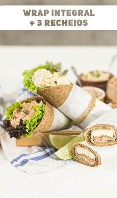 Massa Caseira Integral de Rap 10 / Wrap com 3 Recheio Deliciosos para Lanches Rápidos. Fácil e Prático de Fazer. Diet Recipes, Healthy Recipes, Salty Foods, Fresh Rolls, Healthy Life, Food And Drink, Low Carb, Meals, Cooking