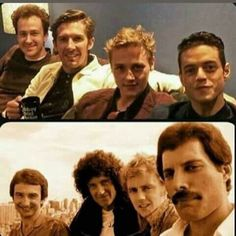 Its scary just how accurate the start who play queen look to the original band. - Its scary just how accurate the start who play queen look to the original band. I cried throughout - John Deacon, Queen Photos, Queen Pictures, Ben Hardy, Queen Freddie Mercury, Rami Malek Freddie Mercury, Queen Band, Bryan May, Freddie Mecury