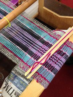Washington Weavers getting on with Rigid heddle warp. Whoop!
