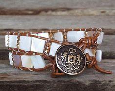 Natural Shell with Brown-Tan Leather Beaded Wrap Bracelet,  Elegant Wrap Bracelet, Nautical, Oceanside