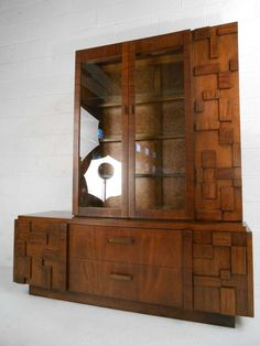 Lane Brutalist China Cabinet/Server | From a unique collection of antique and modern cabinets at http://www.1stdibs.com/furniture/storage-case-pieces/cabinets/