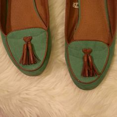Green Loafers With Brown faux Leather tassels and detailing. Small  Stains as seen on last photo. Fits like a size 8 wide.  Feel free to ask any questions. Shoes Flats & Loafers