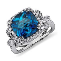 Blue Nile London Blue Topaz and Diamond Scroll Ring in 14k White Gold