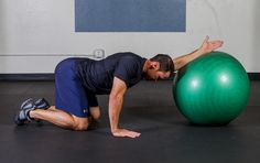 Single Arm Exercise Ball Lat Stretch - A very good static stretching exercise to create extensibility in the Lats and upper extremities.