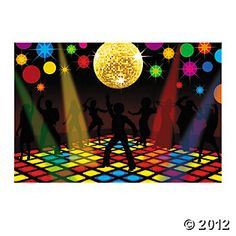 Disco Party Backdrop Banner, Backdrops & Scene Setters, Party Decorations, Party Themes & Events - Oriental Trading