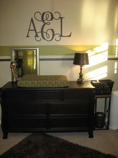 Love the stripes and the monogram and the dresser-changing table