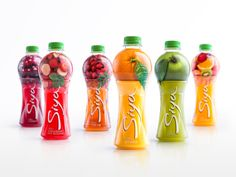 Siya is fruit juice thats so fresh its practically been squeezed right into your bottle. Backbone Branding took the idea of fruit resting right on a juice glass to create a unique bottle shape that stands out against other juices on the market. Juice Branding, Juice Packaging, Cool Packaging, Food Packaging Design, Beverage Packaging, Bottle Packaging, Packaging Design Inspiration, Branding Design, Label Design