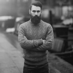 Ricki Hall looking good in a sweater - full thick dark beard and mustache beards bearded man men mens' style model hair undercut handsome #beardsforever
