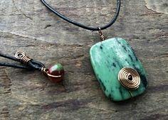 Ruby in Zosite Pendant Necklace Men Women OOAK by kimforrerdesigns