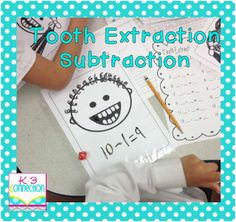 Cute!! Tooth Extraction subtraction game. #elementary #kindergarten #1st #grade #math #game #subtraction #teaching