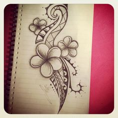 Polynesian tattoo... would look cool in brown with white ink in the flowers: