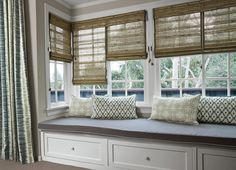 Flat Fold Shades in 13608 Crete/Mist with Edge Binding in 12849 Solid Twill/Palm and on 2 on 1 Headrail