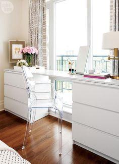 My Ikea Malm Dresser Hack The Pink Dream. 40 IKEA Malm Dresser Hacks ComfyDwelling Com. Askvoll Similar Ikea Nyvoll Dressers Home Improvement . Home and Family Ikea Dresser Hack, Dresser Desk, Vanity Desk, Ikea Malm Desk, Diy Dressers, White Desk And Dresser, Ikea Workspace, Ikea Hack Bench, Small Spaces