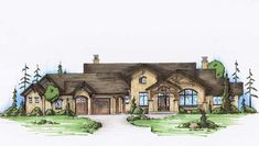 Luxury Style House Plans - 3590 Square Foot Home , 1 Story, 2 Bedroom and 2 Bath, 3 Garage Stalls by Monster House Plans - Plan 53-232
