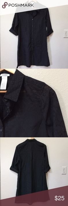 """Calvin Klein sheer swim button down coverup Calvin Klein sheer button down swim coverup. It is size small. Black. Approximate length is 35.5"""" and approximate chest measurement is 19"""". Excellent condition! Calvin Klein Swim Coverups"""