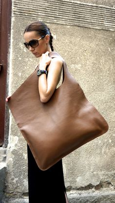 NEW Genuine Leather Caramel Bag / High Quality Tote Asymmetrical Large Bag by AAKASHA A14176