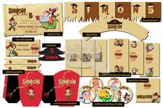 """Cumpleaños 5 de Simón- Temática """"Jake y los Piratas"""" - Diseño de: Invitación, envoltorios para golosinas, círculos multiuso, wrappers, Banderines, minibanderines, Caja golosinera, Toppers y tarjetin comida."""