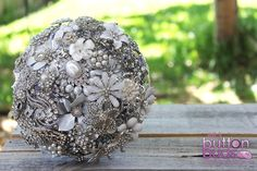 White, Ivory, Silver, Crystal, Rhinestone Pearls Brooch Bouquet by Nic's Button Buds