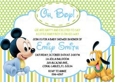 Disney Baby Mickey Mouse Inspired Baby Shower or Birthday Printable Invitation