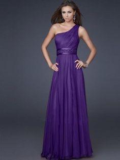 Empire One-Shoulder Beading Floor-length Chiffon Prom Dress