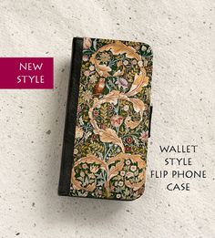Phone case - William Morris - Floral - Owl Tapestry - Mobile - Wallet flip case - iPhone 4,5,5C,6,6Plus,SE & Samsung Galaxy S4,S5,S6,S7 Edge