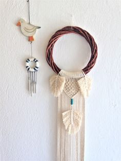 Wreath Macrame Wall Hanging, Feathered Wall Hanging, Knotted Wall Hanging, Interior Design, Home Decor, Wall Decor, Wall Art, Gift, Handmade
