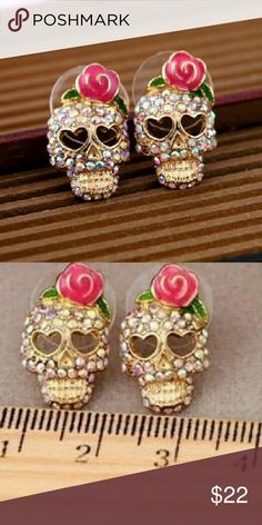 Sugar skulls Sugars skulls with pink bow Jewelry Earrings