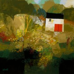 George Birrell - Woodland Barn - 40cm x 40cm Mixed Media - £1950