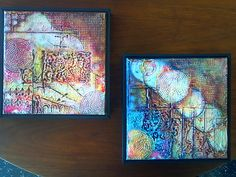"""Sunrise"" and ""Eclipse"" - Mixed Media, 9"" x 9"", sheet rock mud and acrylic on canvas."