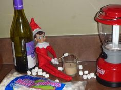 Elf On The shelf roasting  Marshmellows