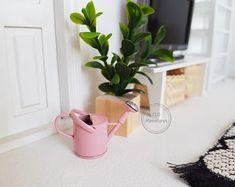 Scale Doll house Miniature Pink Watering Can Thing 1, Modern Dollhouse, Round Mirrors, Watering Can, Dollhouse Miniatures, Custom Stickers, Planter Pots, Etsy Seller, Dolls